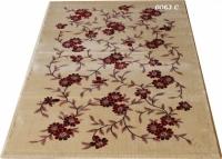 Гладък машинен килим на червени цветя